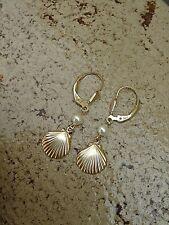 Perle Ohrringe in 585 Gold Filled mit Muschel und Seestern Türkis