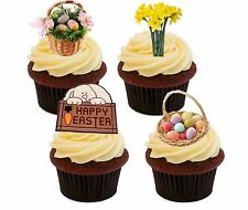 Huevos De Pascua Y Flores Comestibles Stand-Up Cup Cake Toppers, narcisos Hada Bollo