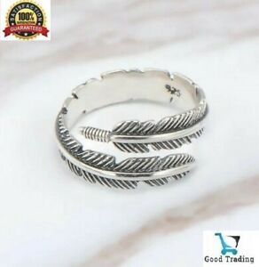 925 Sterling Silver Plated Leaf Feather Ring Sizeable Adjustable Wrap Men Women
