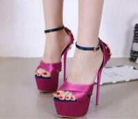 Womens Rhinestone Stilettos Sandals High Heels Platform Ankle Buckle Party Shoes