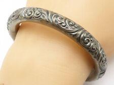 925 Silver - Vintage Antique Baroque Swirl Patterned Bangle Bracelet  - B4808