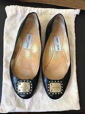 Authentic Jimmy Choo black gold flats pumps ballerina heels EU 38.5 UK 5.5 US 8.