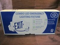 Combo LED Emergency Exit Sign Light Fixture White Housing/Green Lettering - NEW