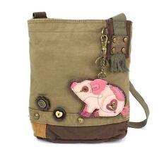 New Chala Handbag Patch Crossbody Olive Green Bag Canvas gift Pig Coin Purse
