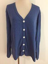 ORVIS Cotton-Blend Jersey Knit Cardigan Blue Size L