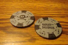 #1 Harley Davidson Poker Chip Skull & Crossbones Golf Ball Marker, Card Guard