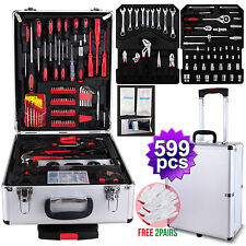 599 pcs Tool Set Trolley Mechanics Metric Standard Kit Case Box Organize Castors
