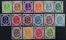 VERY RARE 1951-2 Germany (Federal Rep) set of 16 Numeral & Posthorn stamps Mint