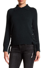 NWT  Frame Denim Side Tie Crop Black  Cashmere Sweater XS $495