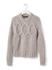 Banana Republic Cable-Knit Cropped Sweater Pullover Wool Blend Tan Size L, NWHT