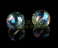 2pcs 20mm Round faceted Crystal Glass Loose Spacer Beads Green Colorized