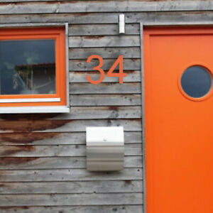 HOUSE NUMBER 4 Arial Acrylic Large Floating Cool Stylish Modern Gloss Black DIY