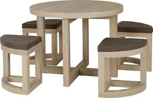 Cambourne Stowaway 90cm Light Sonoma Oak Dining Table and 4 Stools Set SALE