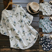 Plus Size Women Floral Printed V-Neck T-Shirt Top Lady Short Sleeve Loose Blouse