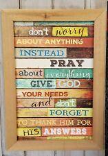 Don't Worry Instead Pray -Marla Rae - Rough Barn Wood Framed 12x18 Art Print NEW