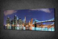 MANHATTAN NEW YORK PANORAMA NIGHT LIGHTS BOX CANVAS PRINT WALL ART PICTURE