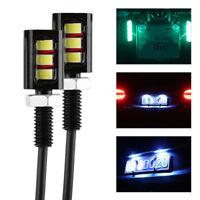 2Pcs Universel 12V 3LED Moto Voiture Éclairage Plaque Immatriculation Vis Lampe
