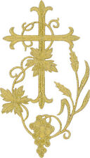 "Fleur Cross W/Grapevine-Vestment-Embroidered Gold Metallic Iron On Applique 6""H"