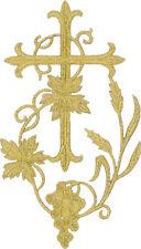"Fleur Cross W/Grapevine-Vestment-Embroidered Gold Metallic Iron On Applique 6""H"