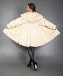 4760 NEW GLAMOROUS REAL WHITE MINK COAT LUXURY FUR JACKET HOOD BEAUTIFUL SIZE M
