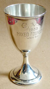 STERLING SILVER CHALICE TROPHY CUP 1933 MIXED FOURSOME