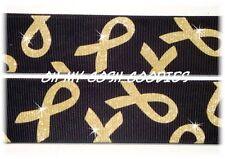 1.5 Twinkle Glitter Gold Childhood Cancer Awareness Grosgrain Ribbon 4 Bow Black