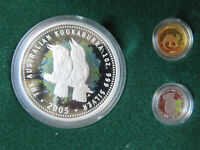Australia 2005 Mini Outback - 3 coin Precious Metals Set. Silver, gold, platinum