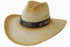 Dallas Hats-Straw Pinch Hat-LONGHORN STEER CONCHO- S - 6 3/4 - 6 7/8 or 54-55 cm