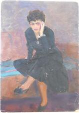 Soviet Impressionist Art,Painting, M. HARUTYUNYAN,Armenia,Armenian Girl,1950s