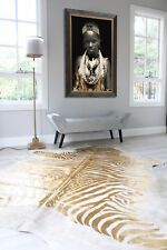 GOLD ZEBRA STENCIL PRINT PRINTED COWHIDE AREA FLOOR RUG premium Quality
