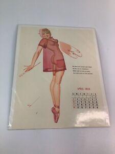 Vintage 1940's-50's PIN-UP Original calendar sexy girl art 12 of 20