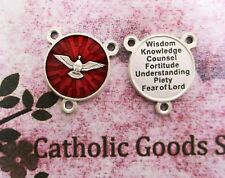 Holy Spirit + 7 Gifts of the Holy Spirit - Silver tone + Red Enamel Centerpiece