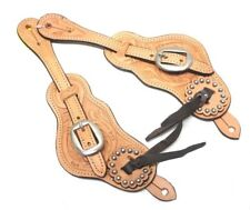 TOUGH 1 LADIES LT OIL OLD STYLE SHAPED SPUR STRAPS FLORAL DESIGN NEW HORSE TACK