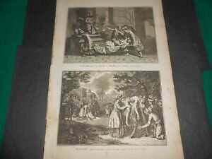 1728 Copper egraving Picart India sick asks for healing to God Ixora and to cow