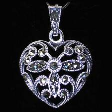 VINTAGE MARCASITE FILIGREE HEART PENDANT__ W/CHAIN__925 STERLING SILVER