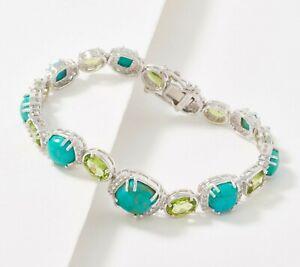 "Generation Gem Sterling Silver Turquoise/Peridot Bracelet 6-3/4"" QVC $245.00"