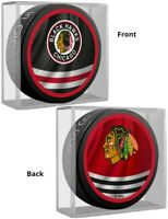 Chicago Blackhawks Reverse Retro Dual Logo Souvenir Hockey Puck in Display Cube