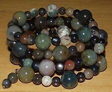 Fancy Jasper Bracelet Coil - Beaded Wrap - Made in USA - Assorted Gemstones Yoga