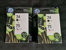Genuine OEM HP 74 & 75 Ink Cartridges Black & Tri-Color Combo CC659FN - Lot of 4
