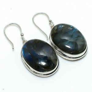 "Labradorite Gemstone Handmade 925 Sterling Silver Jewelry Earring 1.73 "" c032"