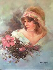 "Mira Fujita OIL on CANVAS PAINT BEAUTIFUL & Flowers Vintage & Rare sz 20"" x 24"""