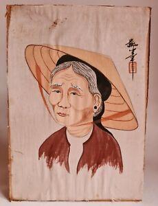 Ancienne Peinture sur Soie Chinoise Veille Femme Asie du XXème Signée