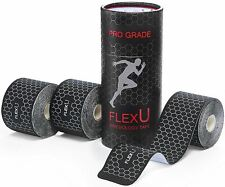 Flexu 3 Roll Pack, Black Kinesiology Highly Durable Athletic Tape Pre-Cut