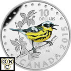 2015'Magnolia Warbler 'Colorized Proof $10 Silver Coin 1/2oz .9999Fine (17294)NT