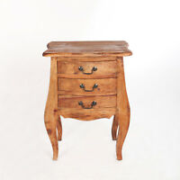 Antik Nachtschrank Nachttisch Nachtkommode 3 Schubladen Massivholz Shabby Natur