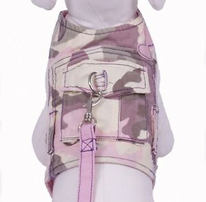 Cha Cha Couture Pink Camo Dog Harness Vest with matching leash (XS, L, XL)