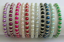 Elastic Glass Pearl & Diamante Rondelle Bead Bracelet 6mm - 12 Colours