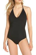 NEW $162 Seafolly RUCHED SIDE One-Piece BLACK Swimsuit SZ 14 AU = 10 US