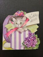 Vtg Rust Craft Birthday Greeting Card Diecut M. COOPER Kitten Hat Box Pansies