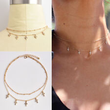 Fashion Double Layer Cross Pendant Necklace Short Chain Choker for Women Jewelry